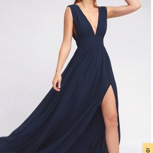 New navy with high slit prom/formal/casual dress